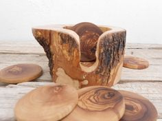 Handcrafted Rustic 6″ Wooden Coaster Holder Set - With Natural Olive Tree Branch…
