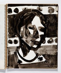 Diebenkorn, ink wash or watercolor, Page 109 from Sketchbook # 20 [female head, 3/4 view, spots in background]