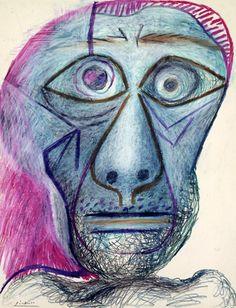 Autorretrato. Pablo Picasso. 30 de junio de 1972. Lápiz y ceras de colores sobre…