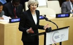 Theresa May, prime minister of the United Kingdom, addresses the summit meeting on the refugees and migrants crisis at the United Nations on September 19, 2016 in New York City