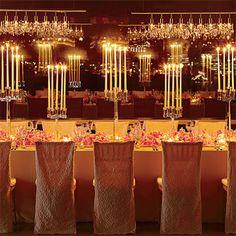 Brides: Romantic Candle Lit Reception Table. Light Waves
