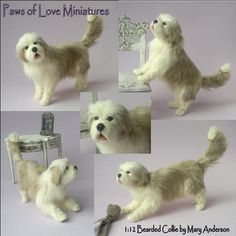 scale miniature poseable dog by Mary Anderson - Paws of Love Miniatures Clay Miniatures, Dollhouse Miniatures, Nuno Felting, Needle Felting, Felt Animals, Cute Animals, Pet Dogs, Dog Cat, Miniature Dogs