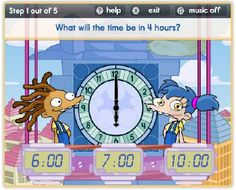 Games for telling time. Elapsed time.