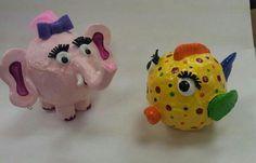 animais feitos com tecido e gesso