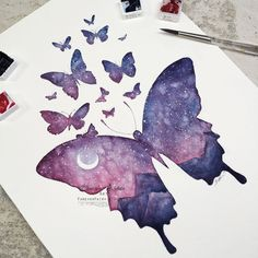 Galaxy Sky Butterfly Print, Witchy Galaxy Art, Galaxy Watercolor, Galaxy Painting, Fantasy Butterfly Art, Night Sky Art Purple Butterflies