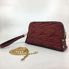 Bayan Vegan Zebra Desen El ve Askılı Çanta| Meissa Zebra Red