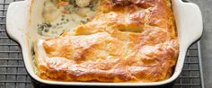 We love spinach and artichoke dip so much that it inspired this modern spin on chicken pot pie, which is prepared a baking dish.