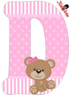 D is for dort. Alphabet Letter Templates, Alphabet And Numbers, Letter Art, Baby Shower Clipart, Teddy Bear Cakes, Baby Shawer, Scrapbooking, Bear Party, Cute Clipart