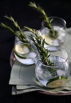 Cucumber Rosemary Gin & Tonic •