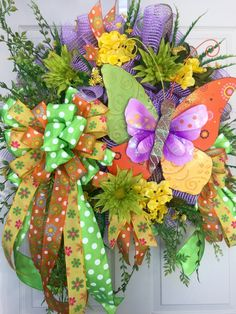 Butterfly Mesh Spring and Summer Wreath by WilliamsFloral on Etsy https://www.etsy.com/listing/286733019/butterfly-mesh-spring-and-summer-wreath