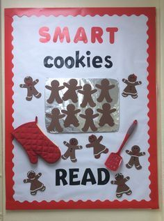 library bulletin board for December and all the Gingerbread read alouds