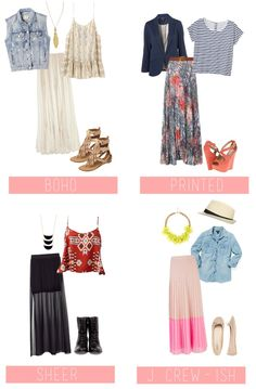4 Maxi Skirt Outfits Too cute like these