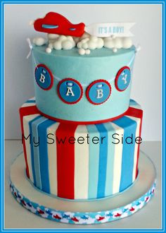 Airplane baby shower cake - Buttercream cake with fondant decorations.