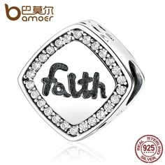 "BAMOER Friendship Gift 925 Sterling Silver Letter ""Faith"" Bead Charms Fit Bracelets & Bangles Women DIY Fashion Jewelry SCC090"