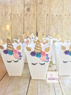 Cajas de palomitas de maíz a Favor de unicornio favor de caja