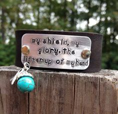Psalm 3:3 Leather Cuff Aluminum Plate Hand-Stamped on Etsy, $30.00