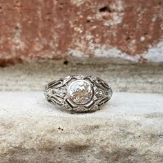 Antique Edwardian to Art Deco Old Mine Diamond Engagement Ring in 18k White Gold