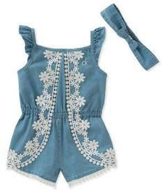 81d8236f249d Calvin Klein Jeans - Baby Girl s Two-Piece Lace Trimmed Denim Romper and  Headband Set