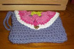 Mini Purse/Wallet- Lavender-!00% Cotton Hand Crocheted