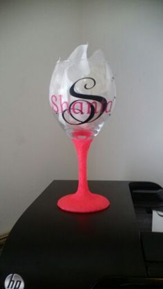 Wine glass made with vynil and hot pink glitter