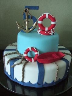 Nautical cake.  should have done this for my mom's 50th.