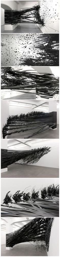 Monika Grzymala's 3D Tape Drawing Explodes onto the Walls of Galerie Crone
