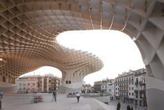 "Wooden Parasol Structure - ""a square waffle-grid system of interlocking, CNC-milled timber fastened with steel connectors and high-strength glue"" - designed by J.Mayer H. Architects, Seville, Spain, 2004-2011"