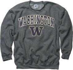 Washington Huskies Sport Grey Perennial II Crewneck Sweatshirt Crew  Sweatshirts e161c97da