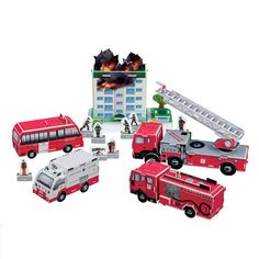 Paper Toy Scale Model Kit for Kids Adult - Fire Fighting Set