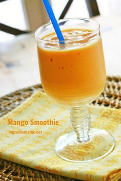 Mango Smoothie with Greek Yogurt Recipe Prep: 5 minutes Yield: 2 servings Ingredients 1 cup unsweetened almond milk 2 cups mango frozen Greek yogurt 1 cup frozen mango slices Preparation 1. In a container of an electric blender, combine all ingredients, starting with almond milk on the bottom. Process until smooth and serve immediately.