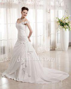 Drop Waist Wedding Dresses Off The Shoulder Chapel Train Taffeta Satin Ivory 010010700625