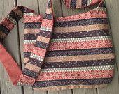 Brown and Rust Striped Print Hobo / Cross Body Bag