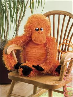 A Monkey on My Back Crochet Pattern Download from e-PatternsCentral.com -- Kids will absolutely adore this brightly colored orangutan pal!
