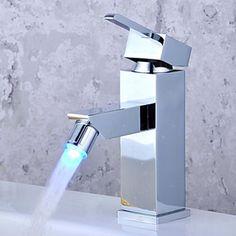 Color Changing LED Bathroom Sink Faucet - Chrome Finish - FaucetSuperDeal.com