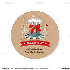 Merry Christmas and a Happy New Year. Fun Christmas Candle with Kraft paper effect background Christmas Gift Stickers with personalized greeting and names. at zazzle.com