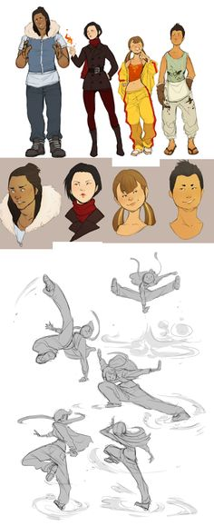 Making my own Avatar AU out of boredom& fun. (Most of these were drawn back in september, the new ones are the airbenders poses) The art of bending has become a cause for monetary gain, bending . Character Poses, Character Design References, Character Concept, Character Art, Concept Art, Art Poses, Fighting Poses, Poses References, Gesture Drawing