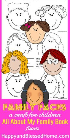 "FREE Craft to create a book ""All about my family book"" with fun graphics and questions for young children to learn about their family from www.HappyandBlessedHome.com"