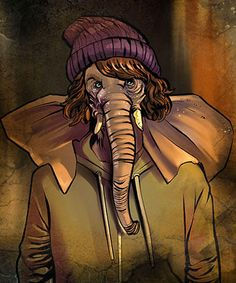 Image of teen elephant with gray skin and wrinkles wearing a hoodie