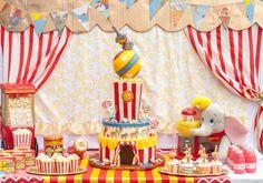 Dessert Table From A Dumbo Circus Birthday Bash Via Karas Party Ideas