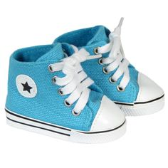 American Girl or Boy Doll  Shoes - Silly Monkey - Turquoise Star High-Top Sneakers, $7.00 (http://www.silly-monkey.com/products/turquoise-star-high-top-sneakers.html)