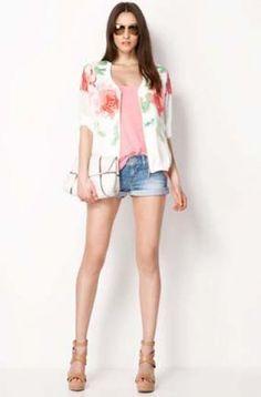 White Long Sleeve Floral Zipper Jacket - Sheinside.com