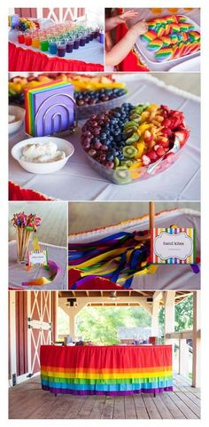 The rainbow birthday party Jennifer planned turned out perfect! It was really fun to help her.Wendy Schultz onto Kids Party Ideas. My Little Pony Birthday Party, Rainbow Birthday Party, 4th Birthday Parties, 5th Birthday, Birthday Ideas, Unicorn Birthday, Rainbow Parties, Rainbow Dash Party, Rainbow Party Decorations