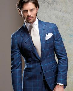 Men's Blue Check Suit, Light Blue Dress Shirt, Navy Leather Oxford ...