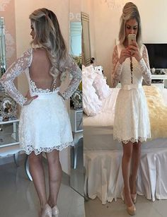 Fit Lace Sleeve Strap Prom Dress Homecoming Dresses Bare back dersses