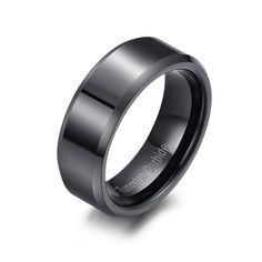 8mm Black Tungsten Carbide Ring Mirror Finished Beveled Edge - Tungsten Rings