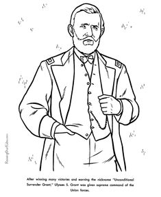 free printable president ulysses s grant facts and coloring picture