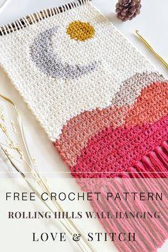 Crochet Wall Art, Crochet Wall Hangings, Crochet Home, Love Crochet, Crochet Gifts, Tapestry Crochet Patterns, Easy Crochet, Confection Au Crochet, Stitch Crochet