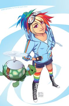 MLP: Rainbow Dash by finni.deviantart.com.  |  I love that Tank is included in the picture!