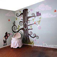 Huge Nursery Nature Tree Scene Vinyl Wall Decal Sticker