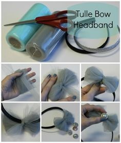 If i were to wrap the tulle around something wider that my hand it'd be a bigger bow.DIY Tulle Bows - put it on a headband and add a rhinestone. Super cute for a flower girl! Tulle Hair Bows, Diy Hair Bows, Diy Bow, Homemade Hair Bows, Tulle Projects, Tulle Crafts, Diy Headband, Baby Headbands, Headband Tutorial